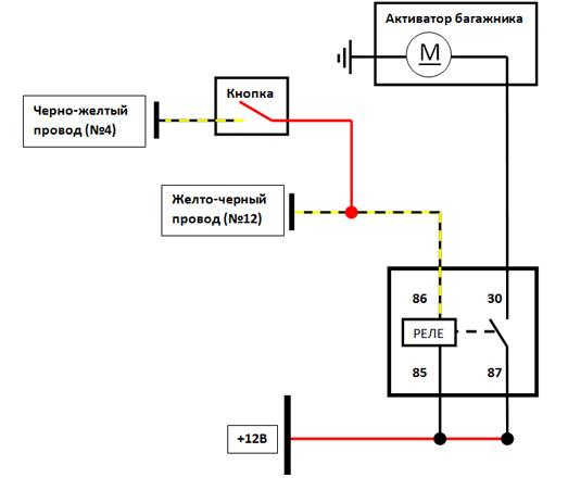 Схема подключения открывания багажника с брелка сигнализации